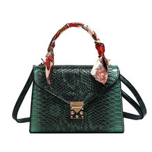 Female Mini Fashion Multicolor Snakeskin Texture Material Handbag Wome PU Leather Green Pink Phone Messenger Shoulder Bags 2020(China)