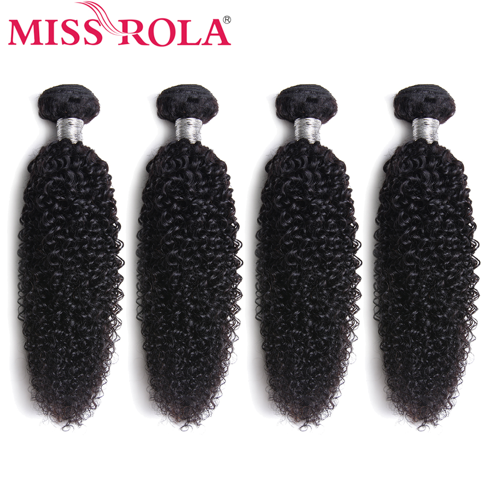 Miss Rola Hair Extension Brazilian Hair Weave Bundle 100% Human Hair Kinky Curly 4 Bundles Non-Remy Hair Weaves Natural Color