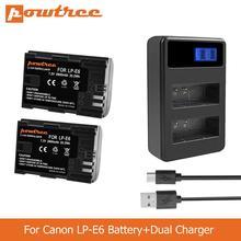 цена на POWTREE 2800mAh LP-E6 LPE6 LP E6 Camera Battery+LED Dual Charger for Canon 5D Mark II Mark III EOS6D 7D 60D 60Da 70D 80D L50