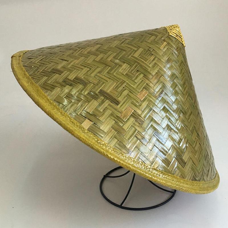 42*27cm Bucket Hat Bamboo Woven Dance Props Light Board Labor Insurance Rain Big Along The Travel Cap Wholesale For Men Women