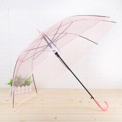 Kreatywny przyjazne dla środowiska kolor przezroczysty parasol prosto słup automatyczne w stylu College w każdych warunkach pogodowych parasol długi Han na