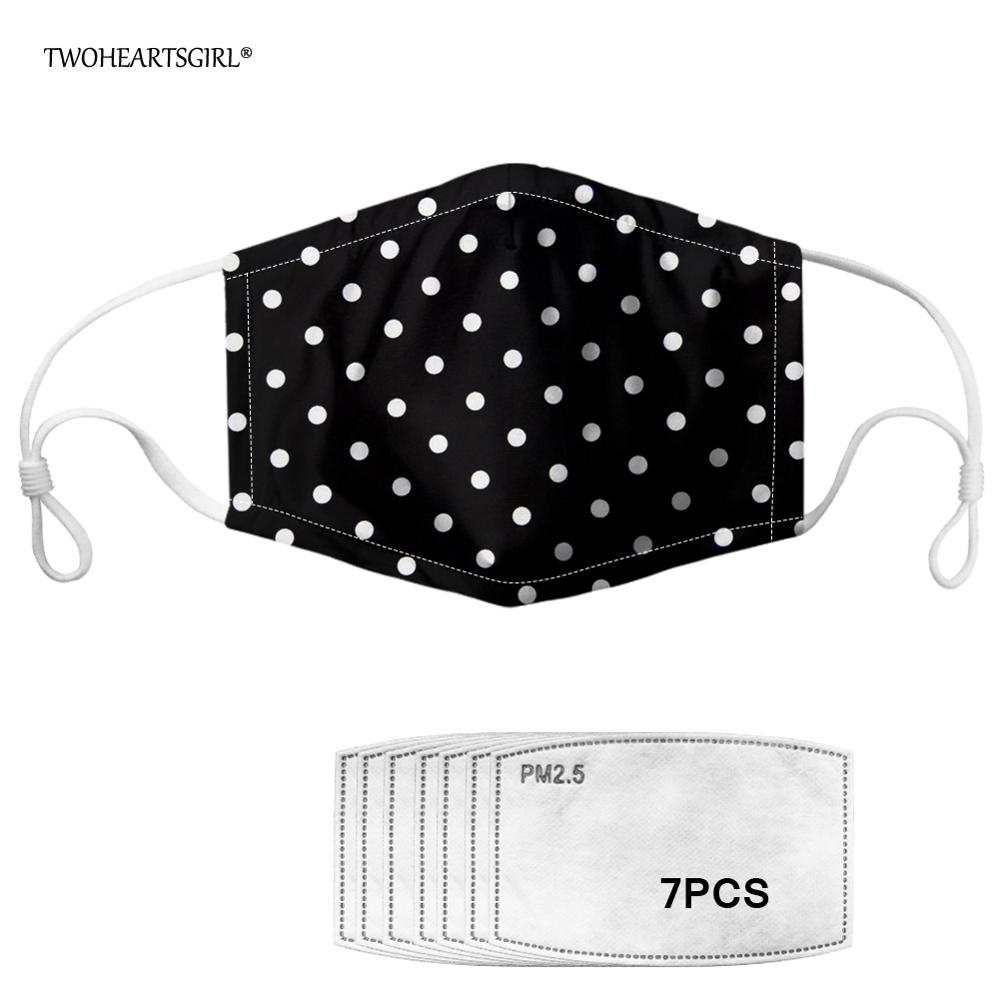 Twoheartsgirl Unisex Black Polka Dot Print Mouth Mask For Men Women Anti-Dust Mask With 7pcs Activated Carbon Filter Face Mask