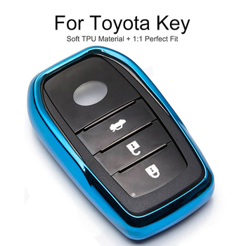 TPU Protection Car Key Cover Case Cap For Toyota Rav4 Fortuner Aygo Prado Yaris Camry 2018 2019 Key Chain Ring Shell Accessories image