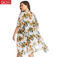 Women Summer Swimsuit Cover-ups Sunflower Print Mesh Tunic Saida De Praia Bikini Cover Up Open Style Beach Dress Cardigan(China)