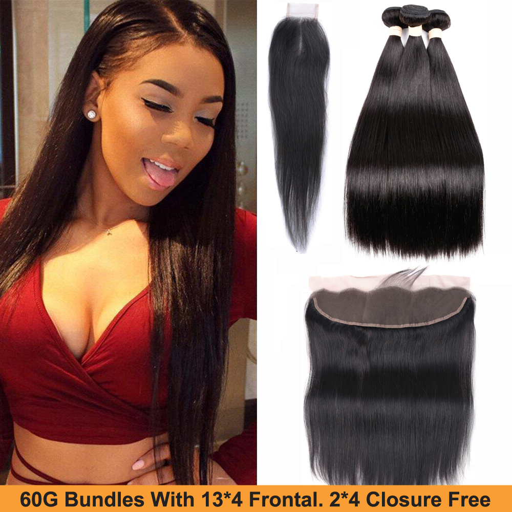 Sapphire Peruvian Straight Hair Remy Human Hair Bundles With 13*4 Frontal 2*4 Lace Closure Weave Bundles With 2PCS Closure