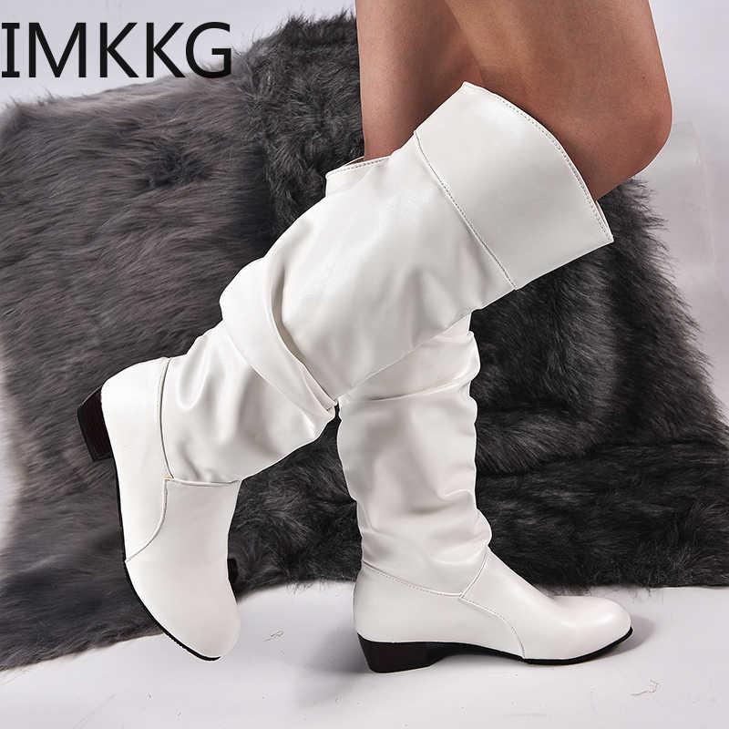 2019 г. Модная обувь женские сапоги до колена зимние сапоги до колена высокие сапоги на плоской подошве для верховой езды Белая обувь для улицы Y10297