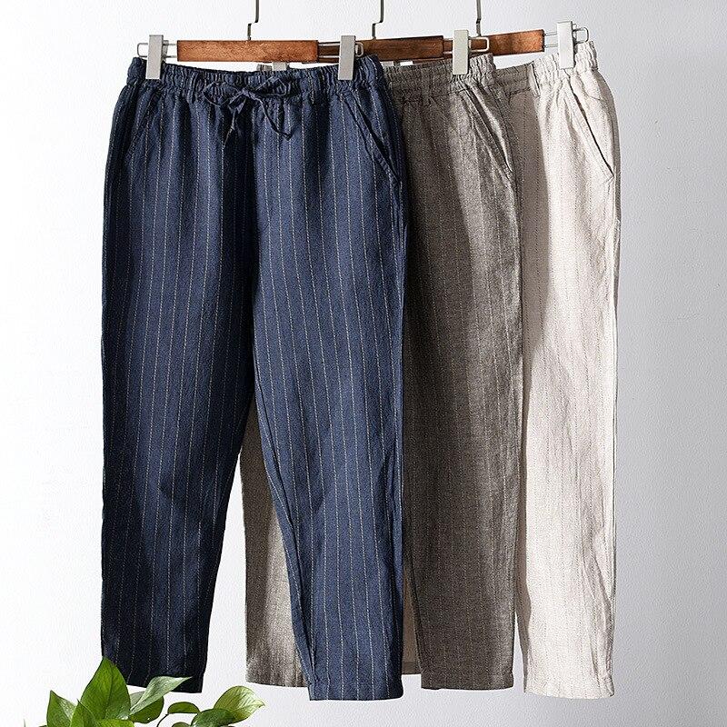 2019 Summer New Style Men'S Wear Flax Capri Pants Casual Pants Linen With Drawstring Cotton Linen Stripes Elastic Pants 3006