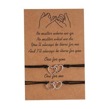 Bracelets d'Amour pour Couple double coeur