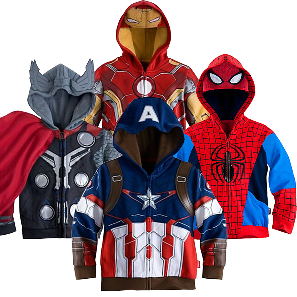 The Avengers Boy Hoodies Captain America Iron Man Batman Little Pony Spider-Man Coats For Boys Full Sleeve Toddler Kids Clothes