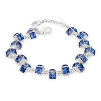 C869 Luxury Blue Crystal Bracelet For Wedding Silver Bracelet Rhinestone Charm Women Bangles Jewelry