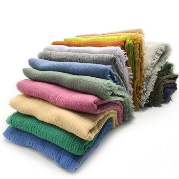wholesale price! 190x100cm Women Scarf Muslim Crinkle Hijab Femme musulman soft Cotton Headscarf Islamic Shawls And Wraps