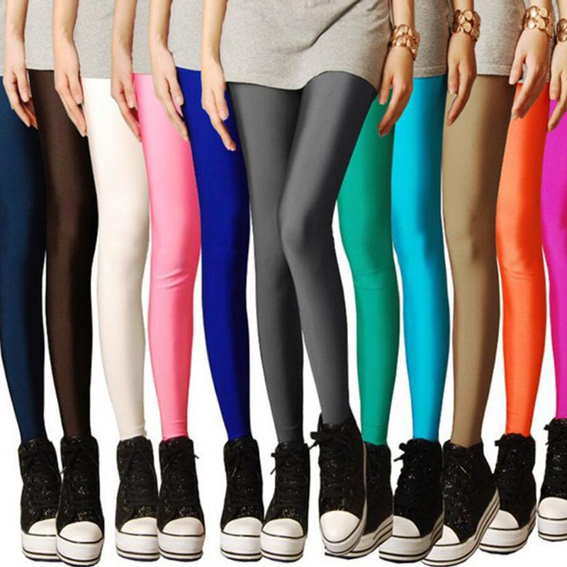 2020 New Spring Solid Candy Neon Leggings For Women High Stretched Female Legging Pants Girl Clothing Leggins