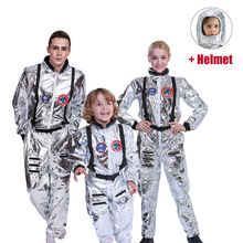 Helmet Dress-Up-Suit Cosplay-Costumes Spaceman Kids Boys Outfit Role-Play Halloween Adults