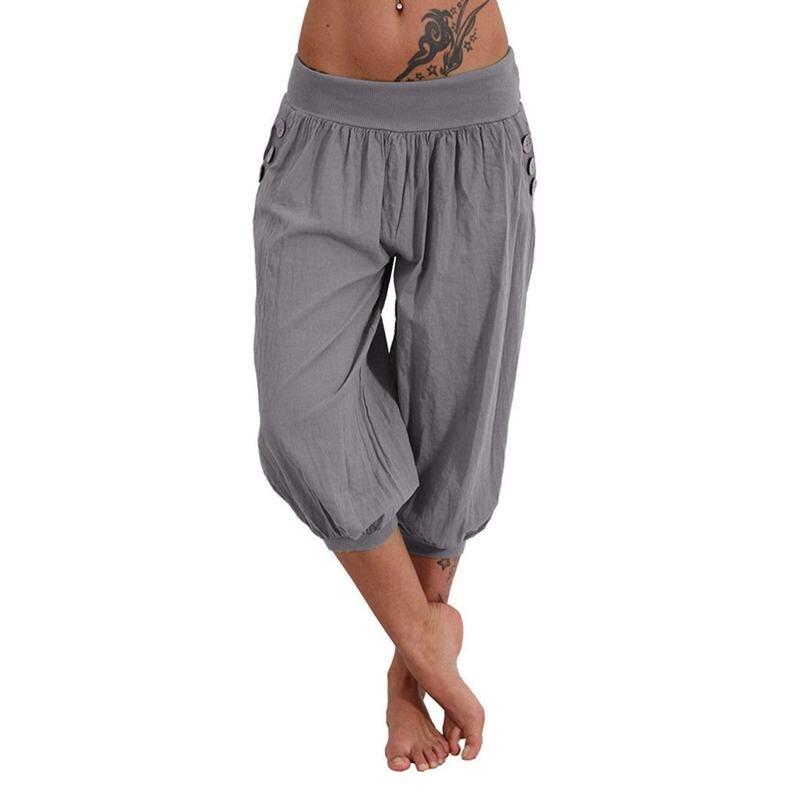Women Solid Casual Loose Pants Low Waist Wide Leg Pants Capri Pants Trousers Grey XL