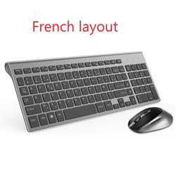 Teclado francês mouse sem fio azerty adequado para jogo PC player IMAC TV Teclado francês mouse mouse jogo sem fio