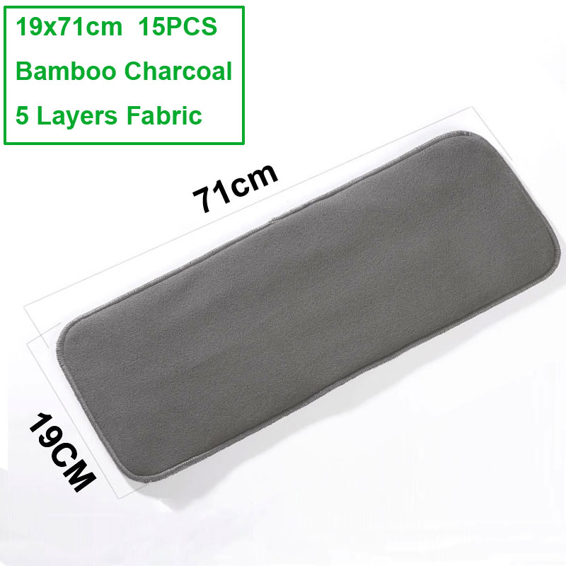 15pcs Washable 5Layers Bamboo Charcoal Cloth Nappy Liner Super Absorbent Reusable Incontinence Adult Diaper Insert Pad 19x71cm