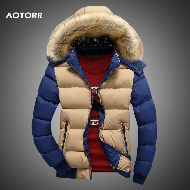 Coat Jackets Parka Hooded Warm Winter Male Casual New Thick Fur Solid Zipper Outwears