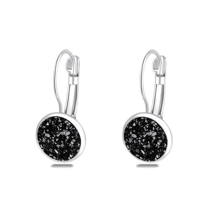 Panas Biru Batu Bulat Anting-Anting Fashion Perhiasan Perak Warna Anting-Anting untuk Wanita Pesta Pernikahan Hadiah Anting-Anting Oorbellen