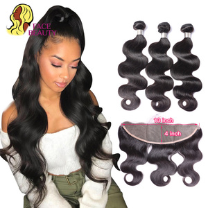 Facebeauty Human Hair Frontal with Bundles Body Wave Hair Extensions Remy Brazilian Hair Weave with Frontal 13x4 Lace Closure(China)
