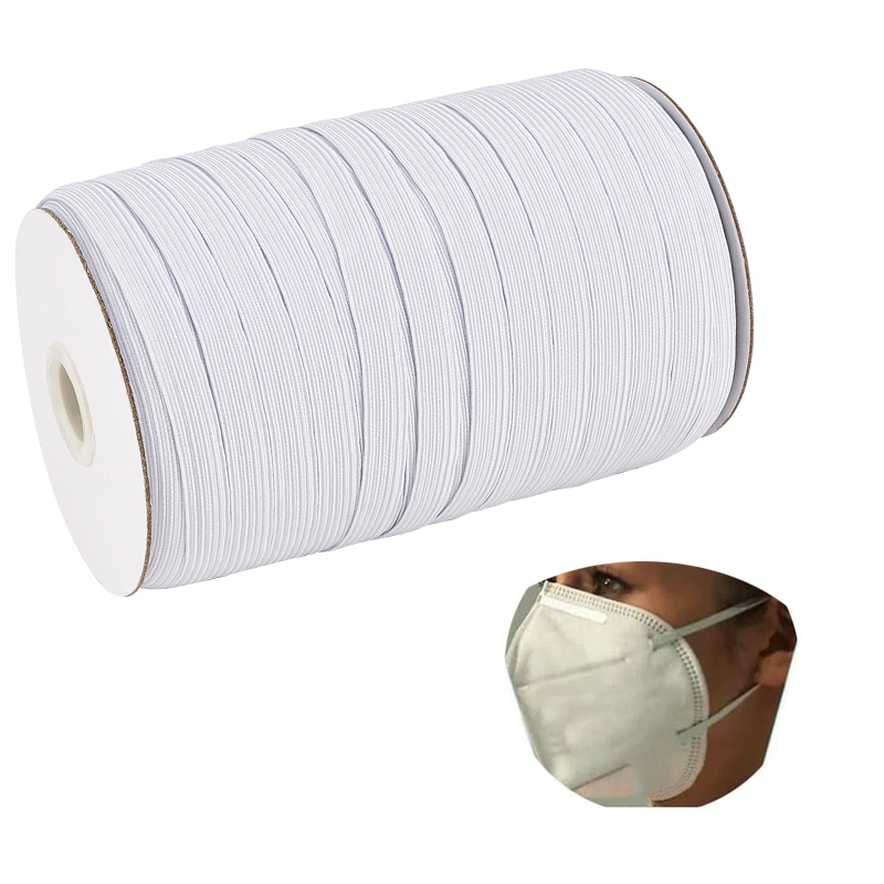 pandahall 4/5/6/8/10/12/14mm Spool Sewing Braided Band Flat Elastic Cord Stretch String for Mask Sew Craft DIY Jewelry Making
