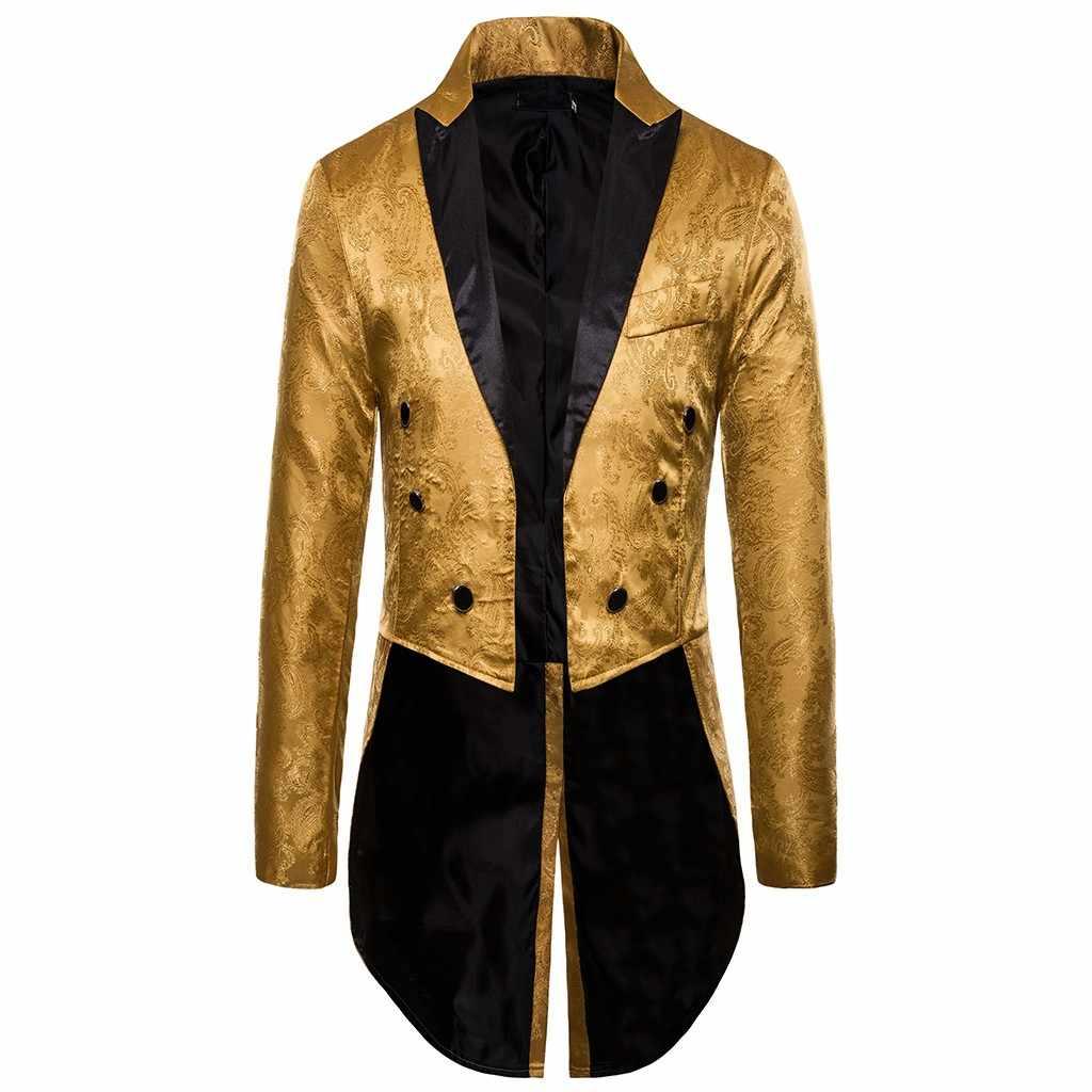 Charm Mens Tailcoat Chaqueta larga Goth Steampunk ajuste traje Cardigan abrigo Cosplay Praty única golondrina uniforme prendas de vestir # g3