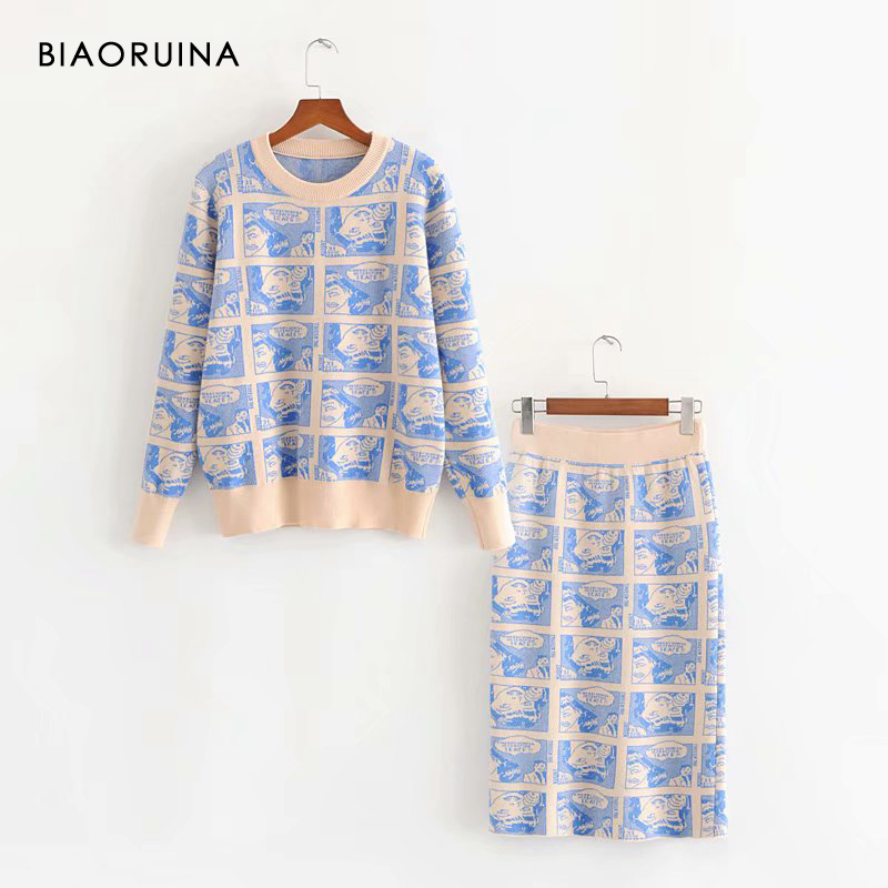 BIAORUINA Women's Character Jacquard Casual Knit Two Pieces Set Cartoon Basic Sweater Pullover + Fashion Straight Knit Skirt