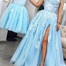 Prom-Dresses Evening-Party-Wear Daughter Gowns Light-Blue Tulle Long for And New-Collection