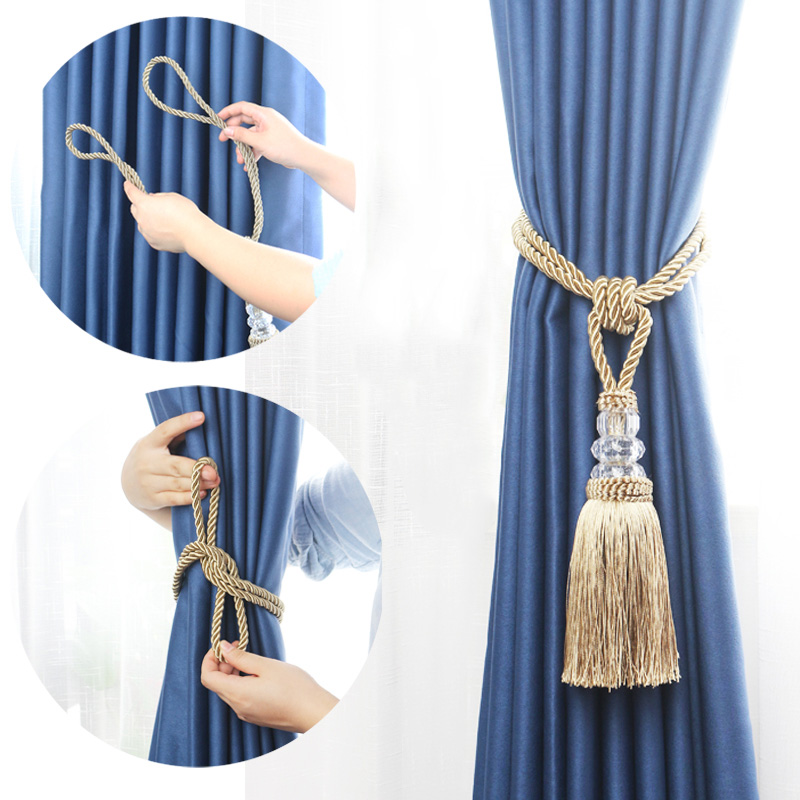 1pc new crystal beaded tassel curtain tieback decorative curtain tie home decor cord for curtains buckle rope room accessories