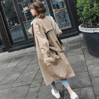 Sashes Autumn Women New Spring Pockets Double Breasted V Neck Drop Shoulder Dust Coat Female Casual Comfortable Wind Coat ZX1279