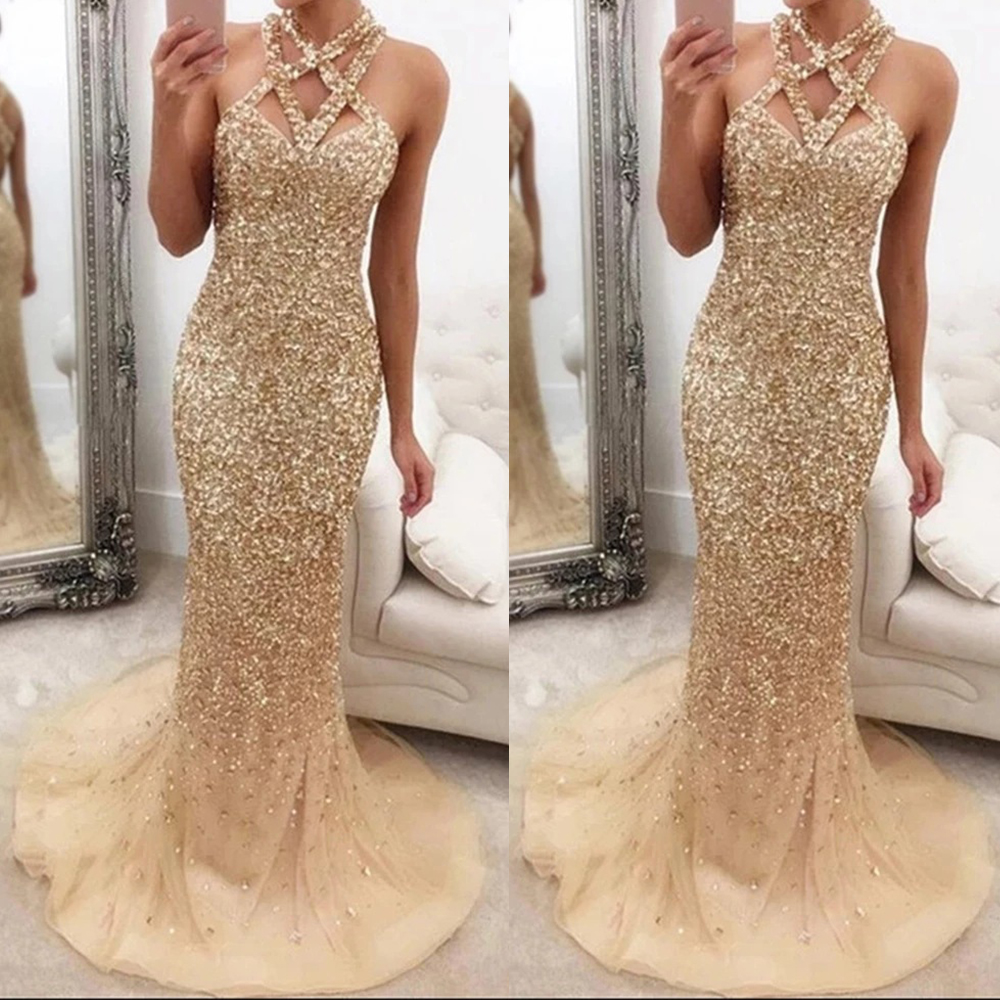 DYMADE Evening Dresses Long 2020 New Mermaid Sequined Sexy Dress Sleeveless Hollow Out Wedding Party Dress Formal Gowns D30