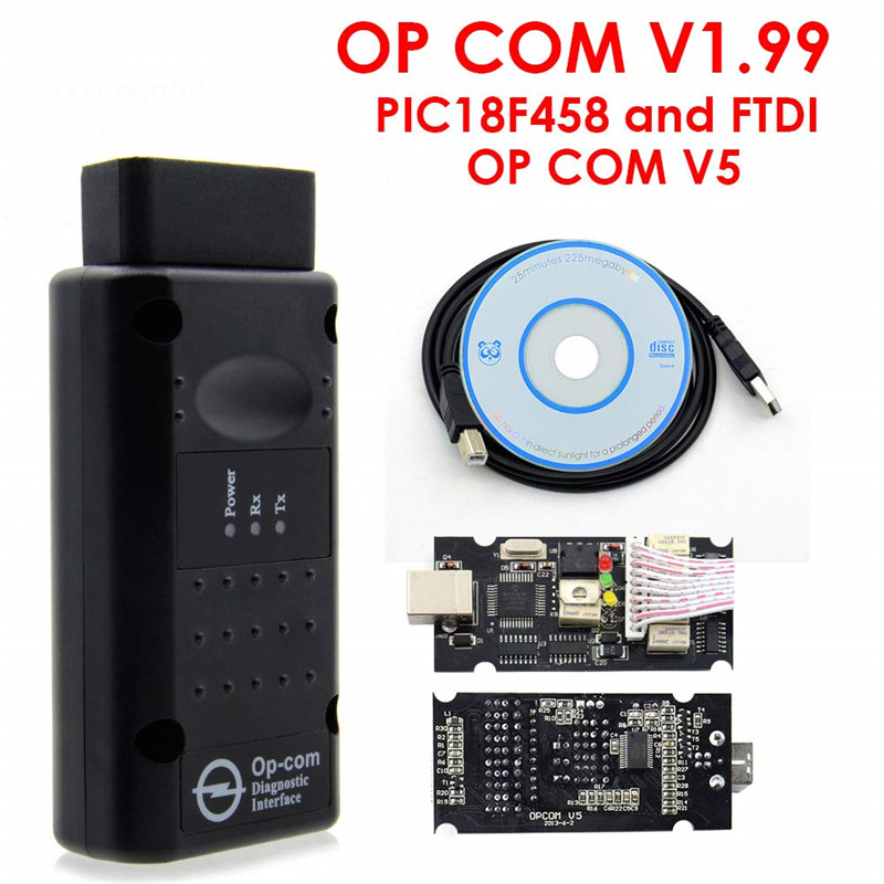 Op Com V 1,70 V 1,99 mit PIC18F458 FTDI Op Com OBD2 Professionelle Auto Diagnose werkzeug für Opel OPCOM KÖNNEN BUS V 1,70 kann flash