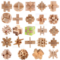 24pcs Wooden Luban Kongming Lock Jigsaw Puzzle Toys For Children Educational Toys Brain Teaser Game With Graphic Illustration