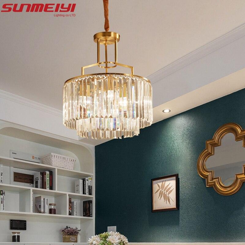 Luxury Crystal Chandeliers Copper Led Lamp For Living Room Bedroom Corridor Modern Ceiling Chandelier Lighting Lustre Cristal