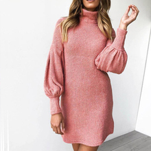 Women Casual Loose Sweater Dress Solid Puff Sleeve Turtleneck Mini Dresses Autumn Winter Knitted