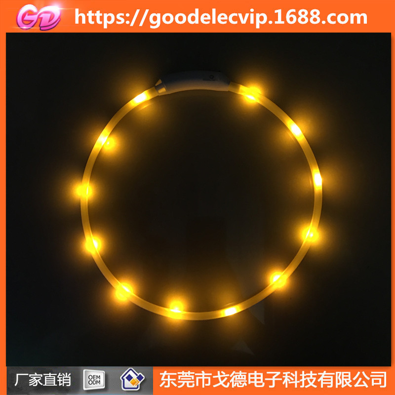 Flat Tube Glowing Dog Collar USB Shining Pet Waterproof Silica Gel Neck Ring LED Pet Shining Collar-Tailor