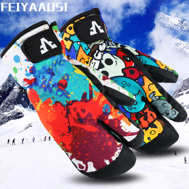 Winter Ski Gloves Cold Warm Gloves Three Fingers Adult Outdoor Riding Snowboard Gloves Waterproof Mountaineering Gloves Thickeni