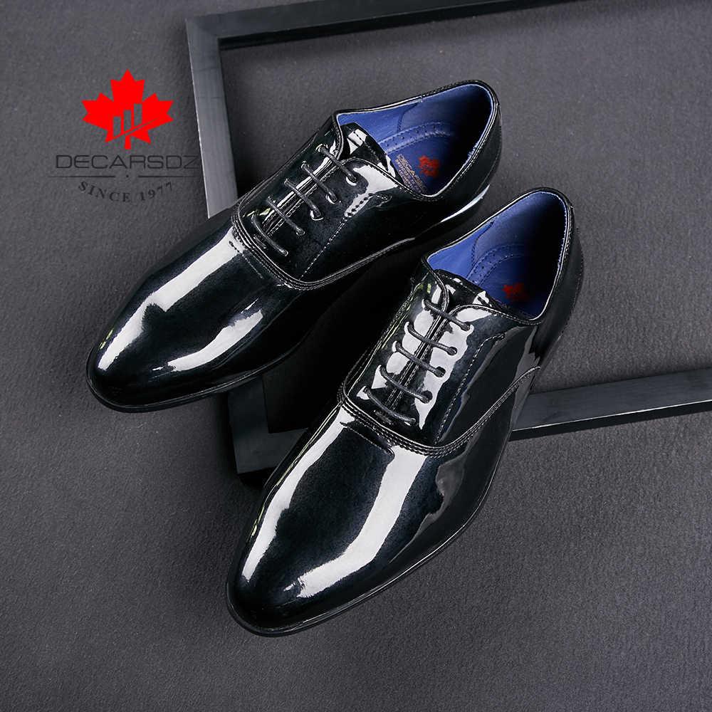 Resmi ayakkabı erkekler 2020 sonbahar moda düğün ayakkabı lüks marka elbise ayakkabı erkek ofis iş Patent deri erkek ayakkabıları