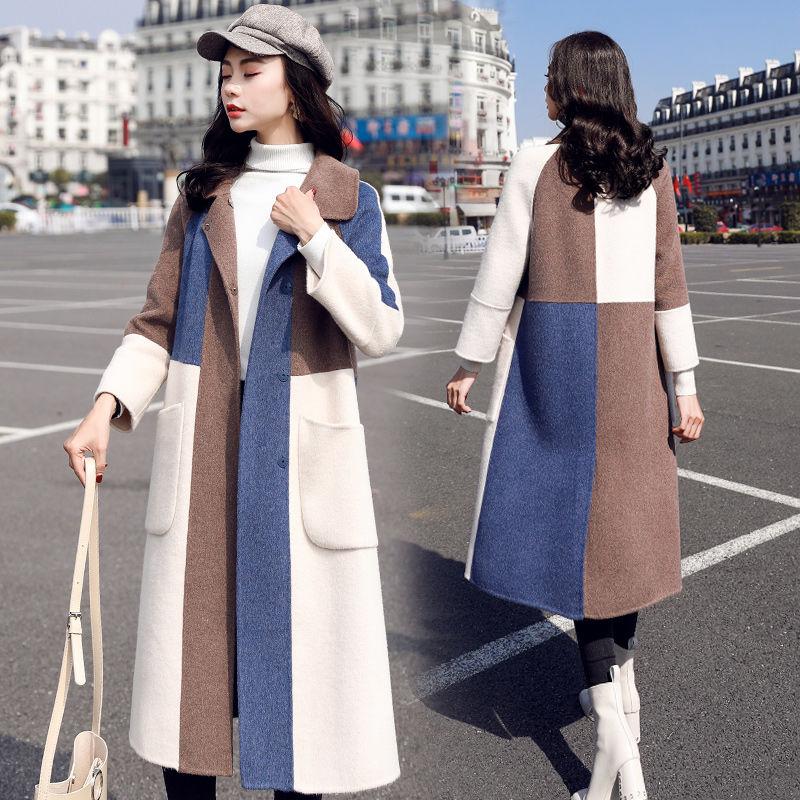 YASUGUOJI, женские шерстяные пальто, Зимняя мода, с пуговицами, лоскутное пальто, женское, длинное, шерстяное, легкое пальто, Mujer Elegante