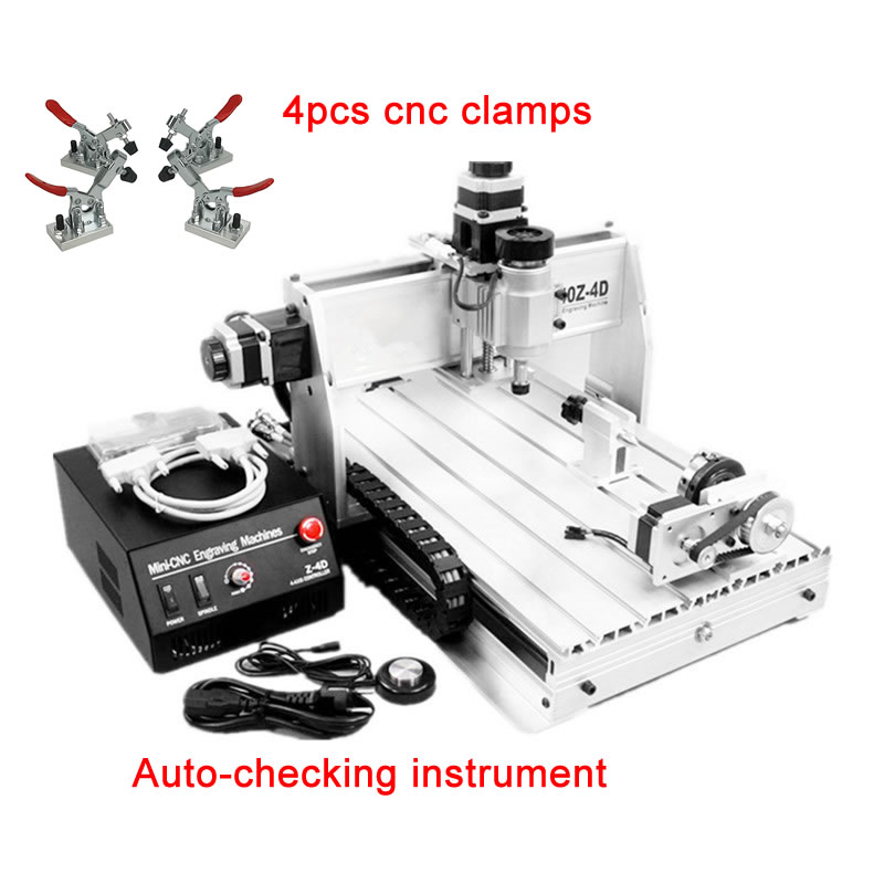 3D CNC Router 3040 Z-DQ CNC Milling Machine With With Rotary Axes,  Ball Screw, Auto-checking Tool + 4 Free Cnc Clamps