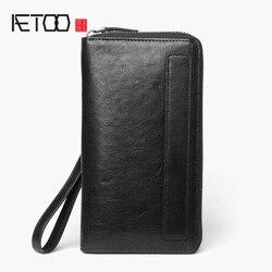 Мужской длинный кожаный бумажник AETOO, винтажная кожаная маленькая сумочка, вместительный многокарточный кошелек на молнии