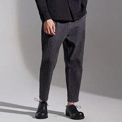 A righe a pieghe pantaloni casual da uomo autunno new Coreano Tendenza Capris allentati e alla moda pantaloni