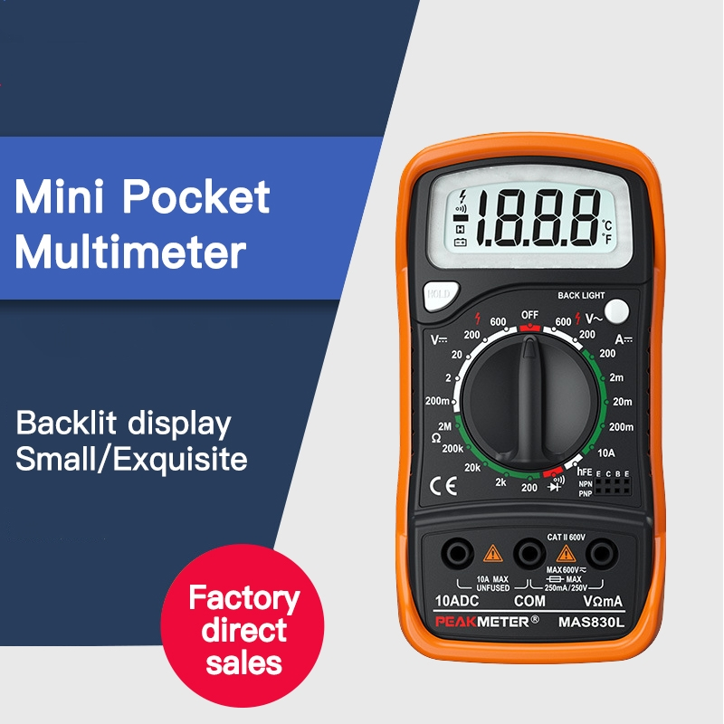 MAS830L Mini Handheld LCD Display 2000 counts Multimeter DC Current Tester Backlight Data Hold Continuity Diode|Multimeters| |  - title=