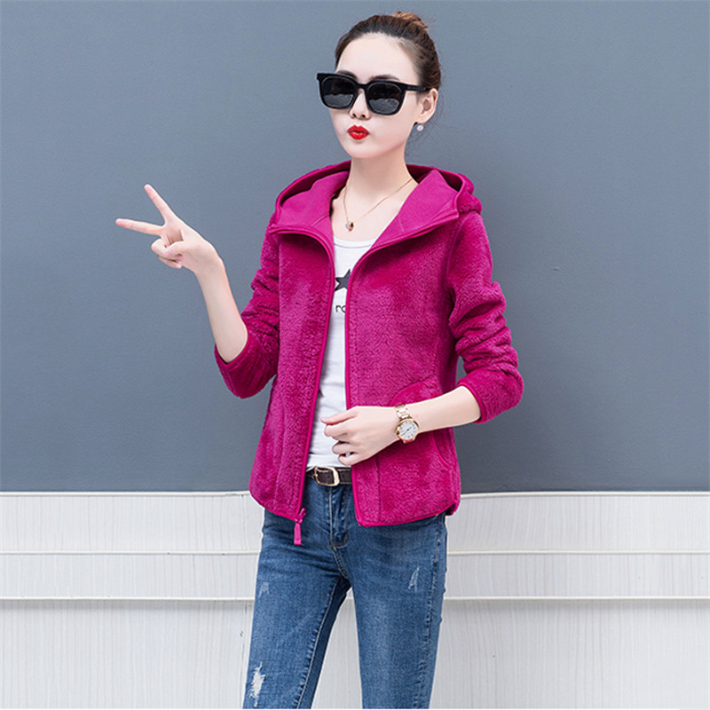 Women Two Sides Wearing a Short Jacket Spring Autumn Coat 2019 New Wild Thick Warm Jacket Loose Hooded Women's Outerwear XIN023