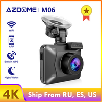AZDOME M06 4K Car DVR Bulit in GPS Mirror Recorder 1080P Rearview Camera Wide Angle Night Vision Dash Cam 24H Parking Monitor