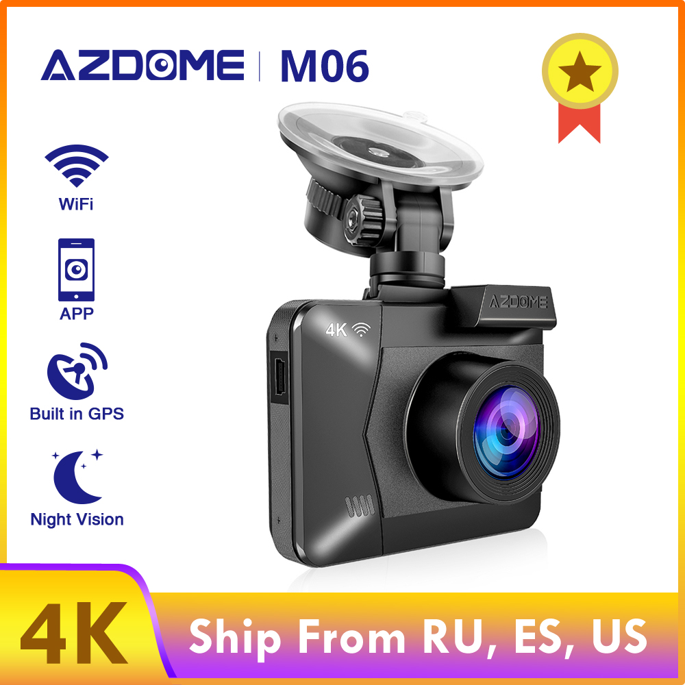 AZDOME M06 4K mirror recorder 2880*2160P <font><b>Car</b></font> <font><b>DVRs</b></font> WiFi Recorder Dual Lens <font><b>car</b></font> Rear Camera Built in GPS WDR Night Vision Dashcam image