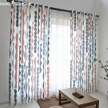 Navy Blue Geometric Yarn Curtain Window Sheer Tulle Curtains For Living Room Kitchen Modern Treatments Voile New