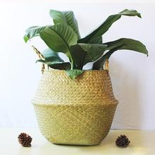 Natural Wicker Basket For Flowers Hand-woven Flower Pot Garden Decor Portable Home Decoration Nordic Style Storage Plant