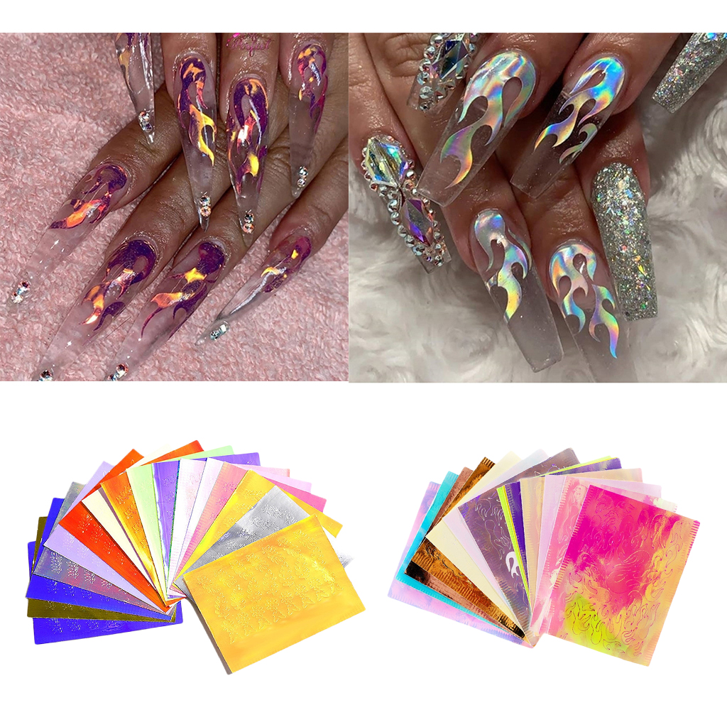 16 Sheets Nail Stickers, Nail Art Decals for Women Girl Fingernail Toenail Decorations, DIY Nail Art Supplies