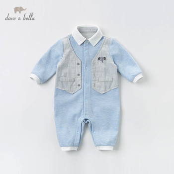 DBX12613 dave bella baby boy romper autumn long sleeve romper infant toddler jumpsuit children boutique new born romper 1 piece фото