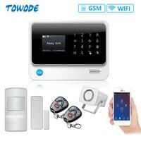 Towode G90B Plus WiFi GSM 2G Drahtlose APP Fernbedienung home Alarm System in Spanisch/Russisch/Englisch/französisch